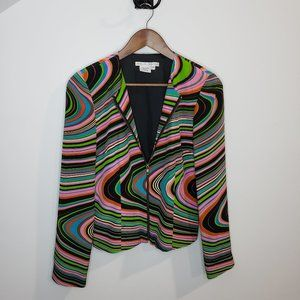 Maggy London 100% Silk Retro Striped Zip Blouse